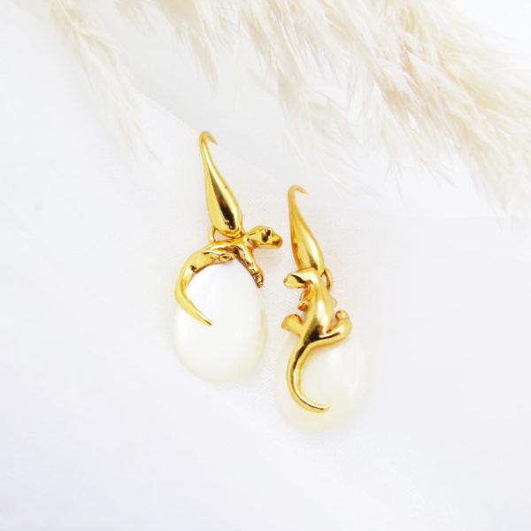 Boucles d'oreilles Salamandre - Vermeil & Nacre face