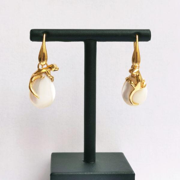 Boucles d'oreilles Salamandre Vermeil & Nacres face