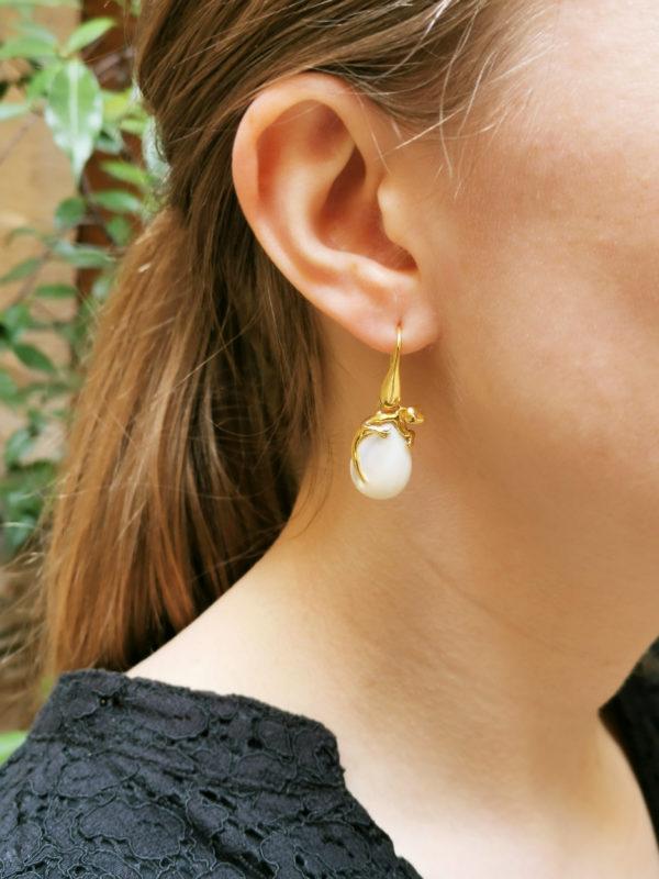 Boucles d'oreilles Salamandres Vermeil & Nacres