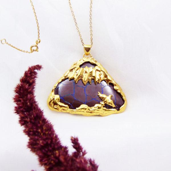 Pendentif Volcan Vermeil Opale Boulder face3 copie