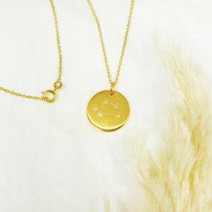 Médaille constellation Balance Vermeil & Topazes