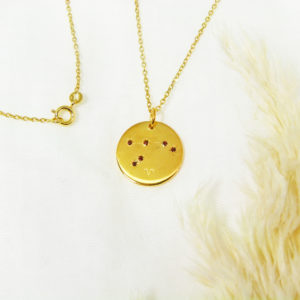 Médaille constellation Bélier Vermeil & Grenats