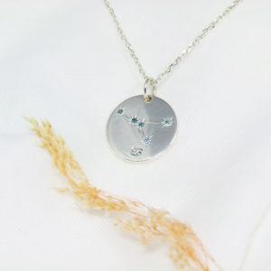 Médaille constellation Cancer Argent & Topazes
