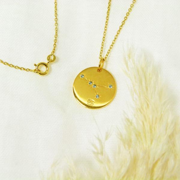 Médaille constellation Cancer Vermeil & Topazes