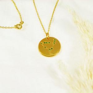 Médaille constellation Capricorne Vermeil & Tsavorites