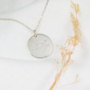 Médaille constellation Gémeaux Argent & Topazes