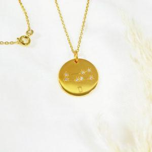 Médaille constellation Gémeaux Vermeil & Topazes