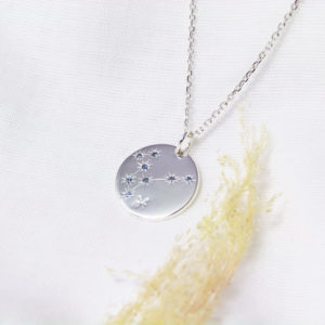Médaille constellation Poisson Argent & Topazes