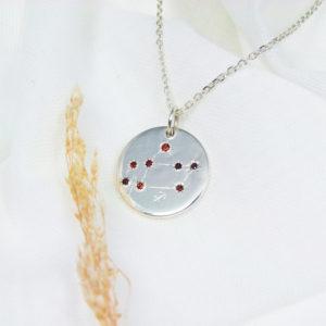 Médaille constellation Sagittaire Argent & Grenats