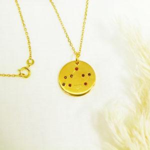 Médaille constellation Sagittaire Vermeil & Grenats