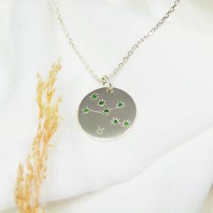 Médaille constellation Taureau Argent & Tsavorites