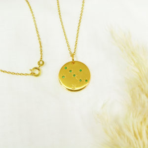 Médaille constellation Taureau Vermeil & Tsavorites