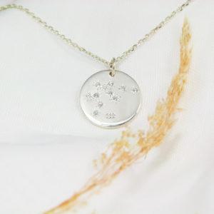 Médaille constellation Verseau Argent & Topazes