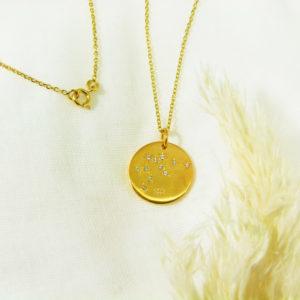 Médaille constellation Verseaux Vermeil & Topazes
