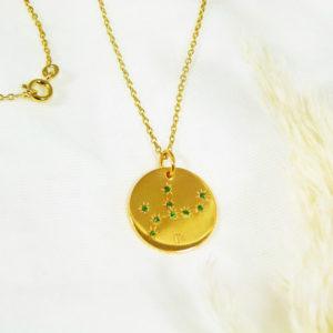 Médaille constellation Vierge Vermeil & Tsavorites