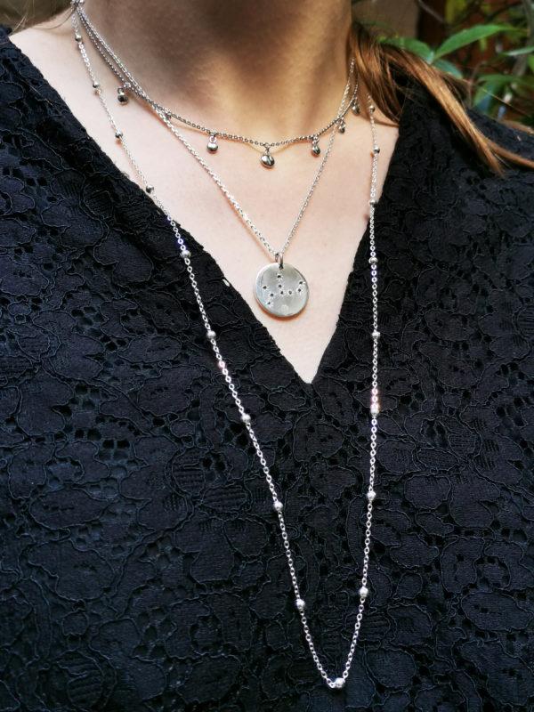 Médailles constellations Argent multirangs porté femme