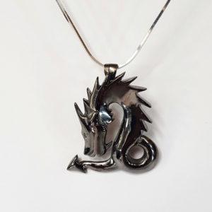 Pendentif Dragon Argent Ruthénium